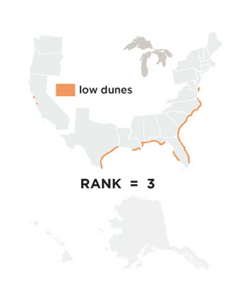 A map of the distribution of low dunes in the United States, the third most important source of coastline protection. They're most found along the east and gulf coasts.